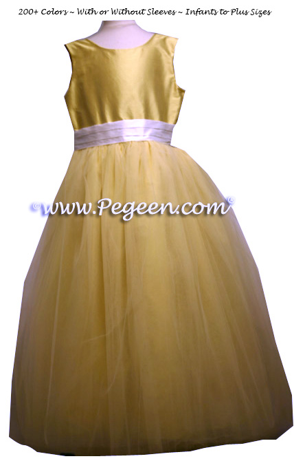 Yellow Ballerina Style Flower Girl Dresses with Antique White Cinderella Bow