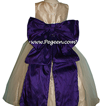 Gold and Puurple silk -flower girl dresses