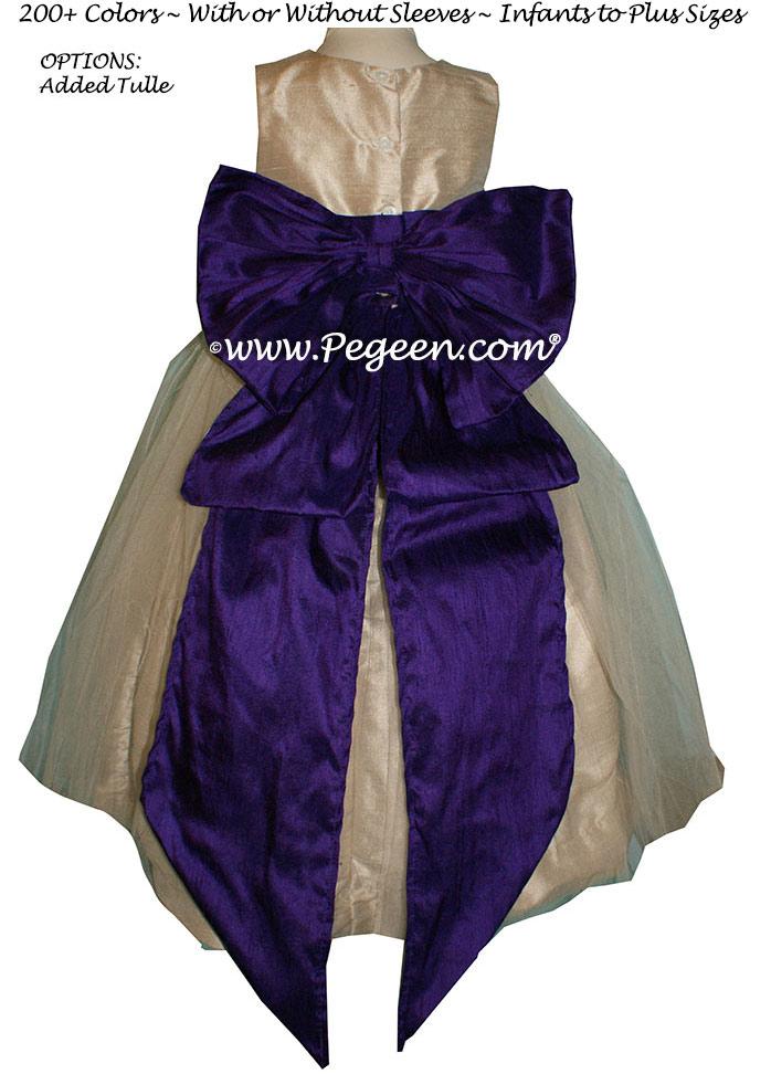 Flower girl dresses Deep Plum and Wheat Silk STYLE 394 | Pegeen