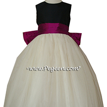 Flamingo, Ivory and Black tulle flower girl dresses