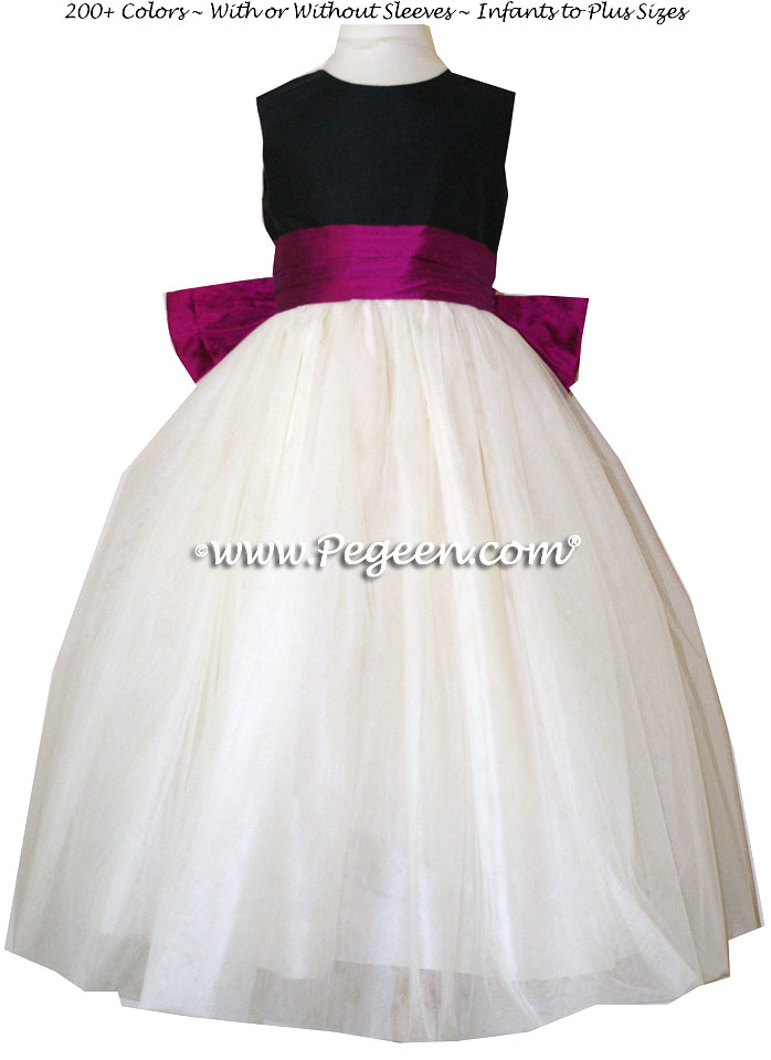 Flamingo, Ivory and Black tulle flower girl dresses style 402