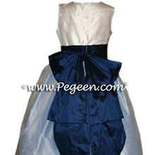 FRENCH BLUE FLOWER GIRL DRESSES
