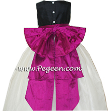 black and flamingo pink silk Flower Girl Dresses