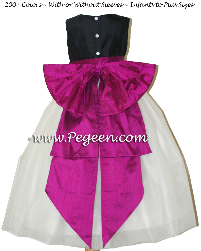 Flower girl dress in black and flamingo pink silk Style 394 | Pegeen