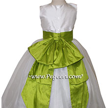 Antique White and Grass Green Silk Flower Girl Dresses by PEGEEN