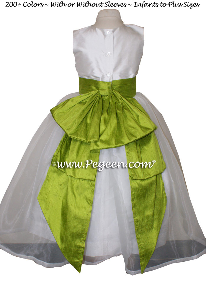 Grass green and antique white silk flower girl dress