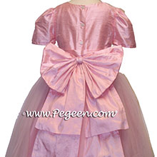 HIBISCUS PINK Silk Flower Girl Dresses with tulle