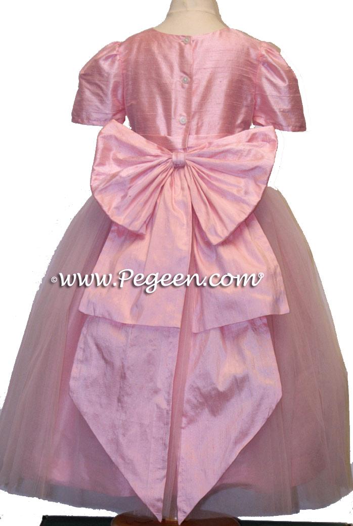 Flower Girl Dresses with Cinderella Sash in Hibiscus Pink | PEGEEN