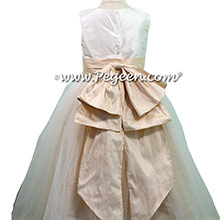 New Ivory and Toffee Custom Silk Flower Girl Dresses - Style 394