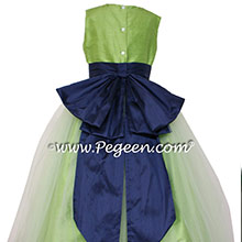 Flower Girl Dresses IN JASMINE GREEN TULLE AND NAVY BY PEGEEN