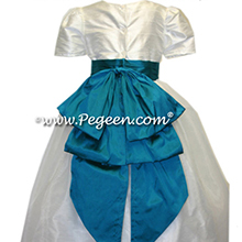 flower girl dress in deep tiffany blue and white silk