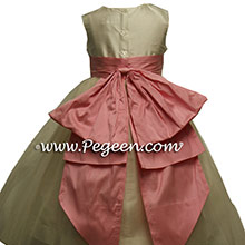 New Ivory and Lollipop Pink Tulle Flower Girl Dresses Style 394 with Cinderella Bow