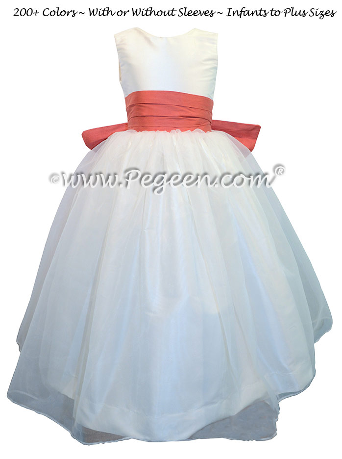 Melon and Antique White Organza Flower Girl Dresses