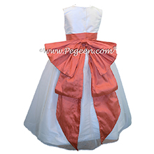 Melon and Antique White Organza Flower Girl Dresses with Cinderella Sash