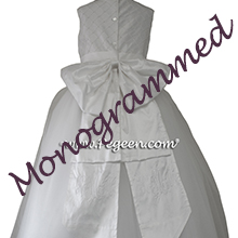 White Silk and Pearls Monogrammed First Communion Dress Style 409