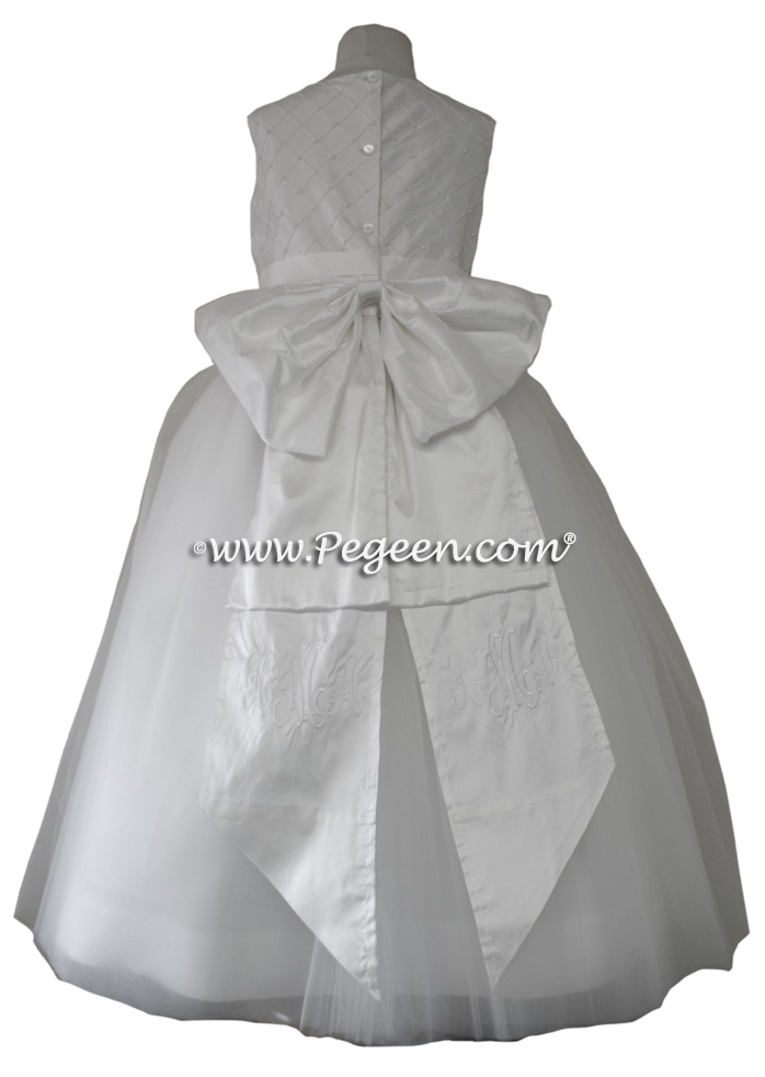 Silk and Pearled Trellis Bodice with Monogrammed Sash for First Communion Dress