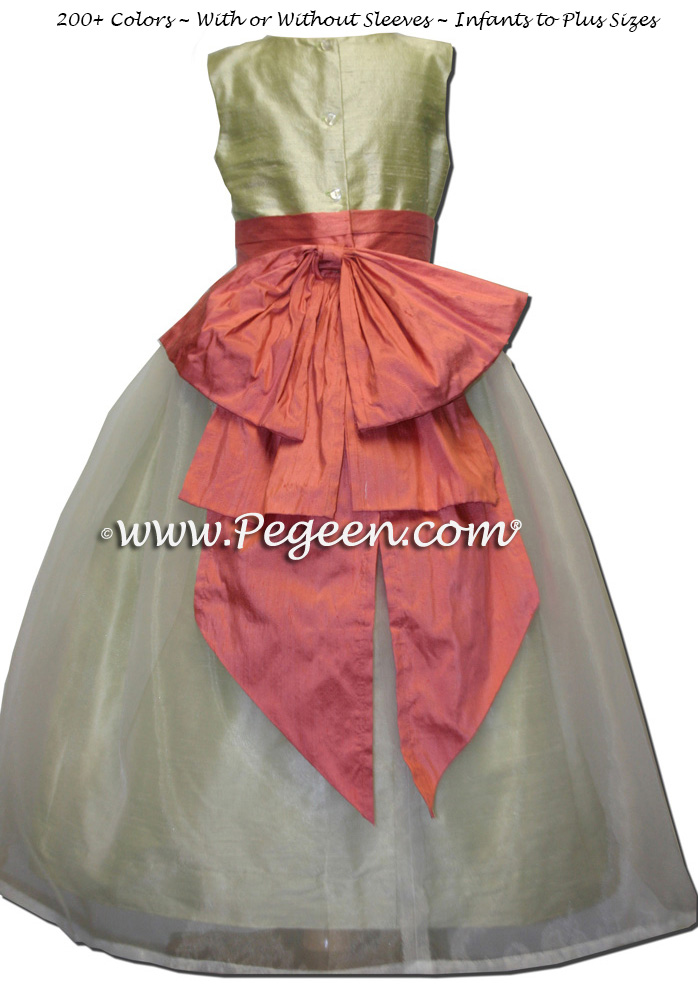 Summer Green and Sunset peach Cotillion Dress for Ball in New Orleans