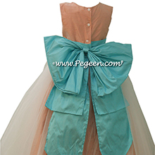 Tiffany Blue and Peach Silk Flower Girl Dresses by PEGEEN