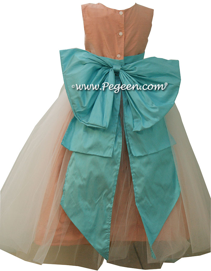 Peach and Tiffany Blue Silk Flower Girl Dresses