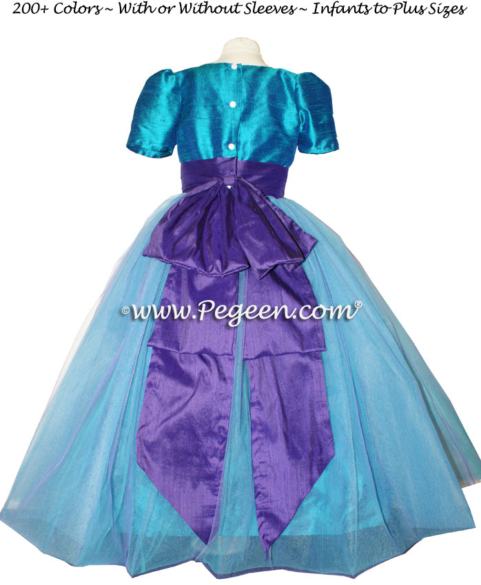 85c473cce Peacock and Purple Flower Girl Dress with Cinderella Sash | Pegeen