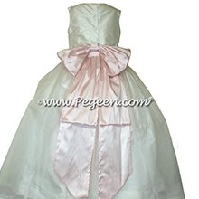 Ivory Organza and Peony Pink silk flower girl dresses - PEGEEN Style 394