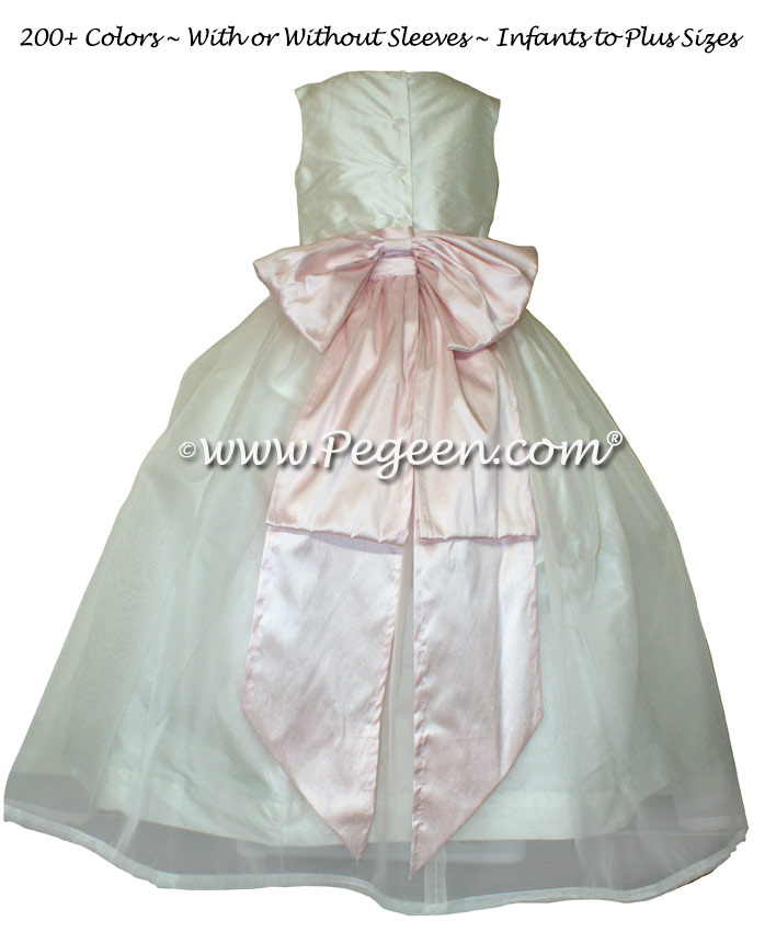 Peony Pink and New Ivory Silk Flower Girl Dresses Style 394