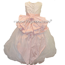 Petal Pink and Antique White Organza Flower Girl Dresses with Cinderella Sash