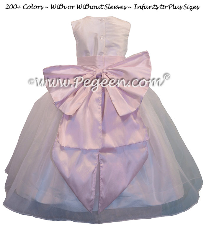 Petal Pink and Antique White Organza Flower Girl Dresses