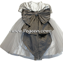 pewter or charcoal grey and platinum silver tulle flower girl dresses