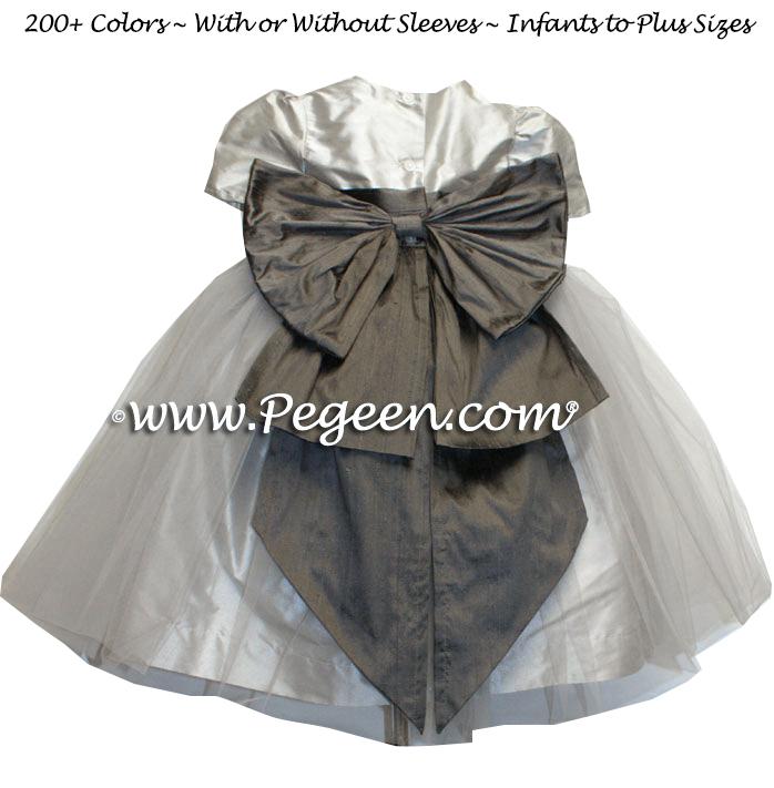 Medium Gray and platinum silk custom flower girl dresses with gray tulle