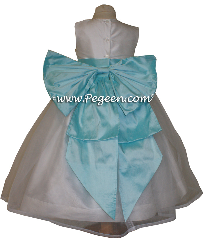 Pond Blue and Antique White Silk custom Flower Girl Dressesstyle 394
