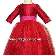 Red Poppy Tulle and Magenta Silk Flower Girl Dresses Style 356
