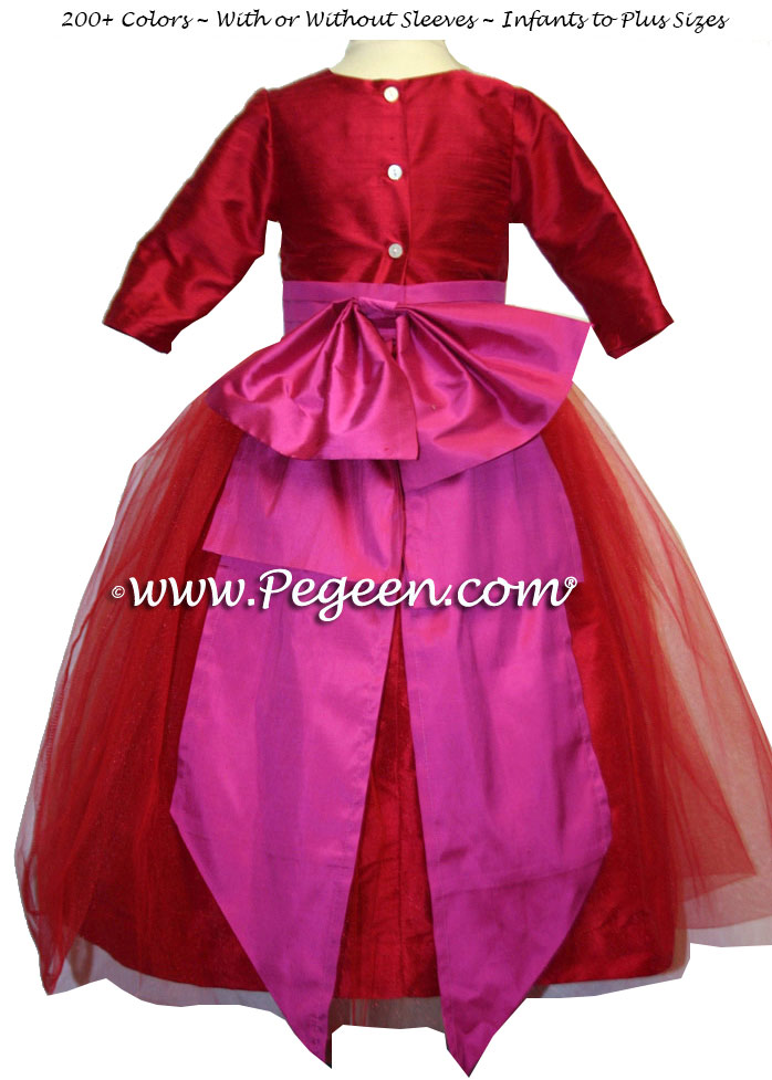 Poppy Red and Magenta Pink Silk custom Flower Girl Dresses style 394