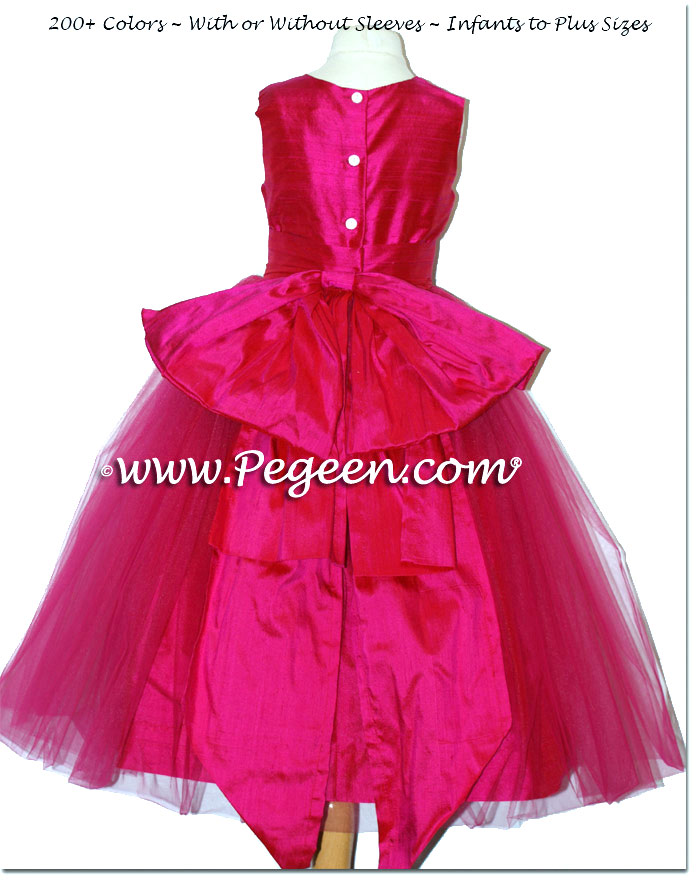 Raspberry Pink Pink Silk custom Flower Girl Dresses style 394