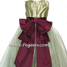 SAGE GREEN AND EGGPLANT flower girl dresses