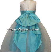 TOURQUOISE AND IVORY CUSTOM Flower Girl Dresses