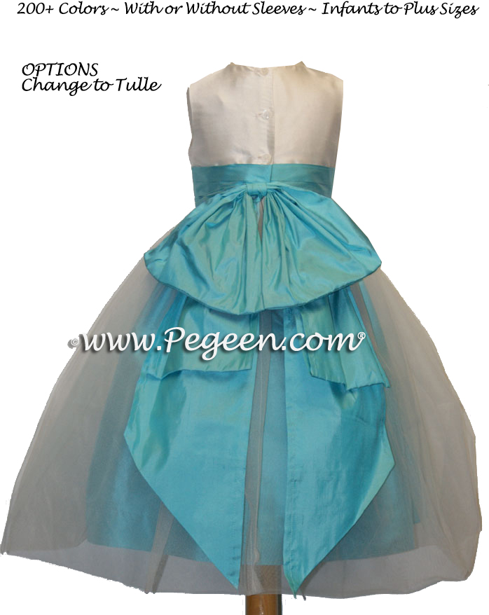 Custom Tahiti blue and ivory silk flower girl dresses