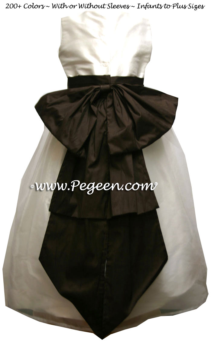 Semi-Sweet brown and New Ivory Organza and Silk Custom Flower Girl Dress
