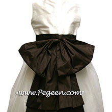 Semi-sweet brown and ivory flower girl dresses