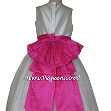 Shock (hot pink) and Antique White organza CUSTOM Flower Girl Dresses