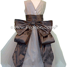 Medium Gray and Pewter Silk Flower Girl Dresses - PEGEEN