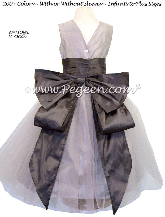 MEDIUM GRAY AND PEWTER (CHARCOAL) CUSTOM FLOWER GIRL DRESSES