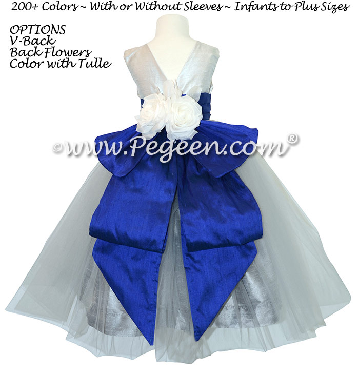 Gray, Sapphire Blue and New Ivory Organza and Silk Custom Flower Girl Dress