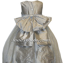 Sparkle tulle in platinum and silver tulle flower girl dresses Style 394