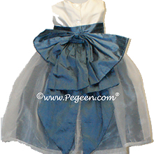 Storm blue and Ivory silk flower girl dresses
