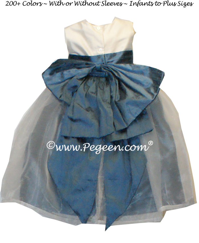 New Ivory and Storm Blue silk flower girl dresses with silk bow