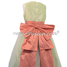 Summer green and sunset flower girl dresses - Pegeen Classic Style 394
