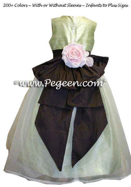 Summer Green and Semi-Sweet chocolate brown Flower Girl Dresses