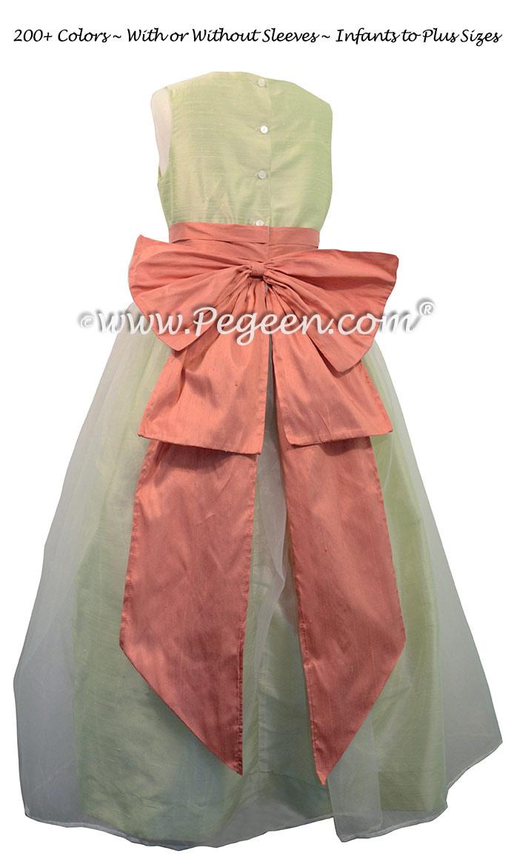 Summer Green and Sunset Flower Girl Dresses