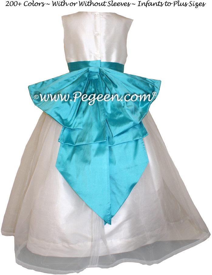 Tahiti Silk and Antique White Flower Girl Dresses